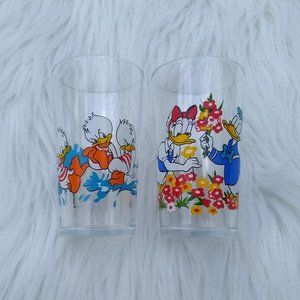 Vintage Disney Donald Duck Glass Cup Set of 2